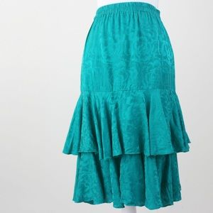 Vintage | 80s Green Silk Tiered Ruffle Skirt Large
